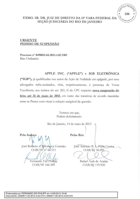 Suspensão do julgamento entre Apple e Gradiente