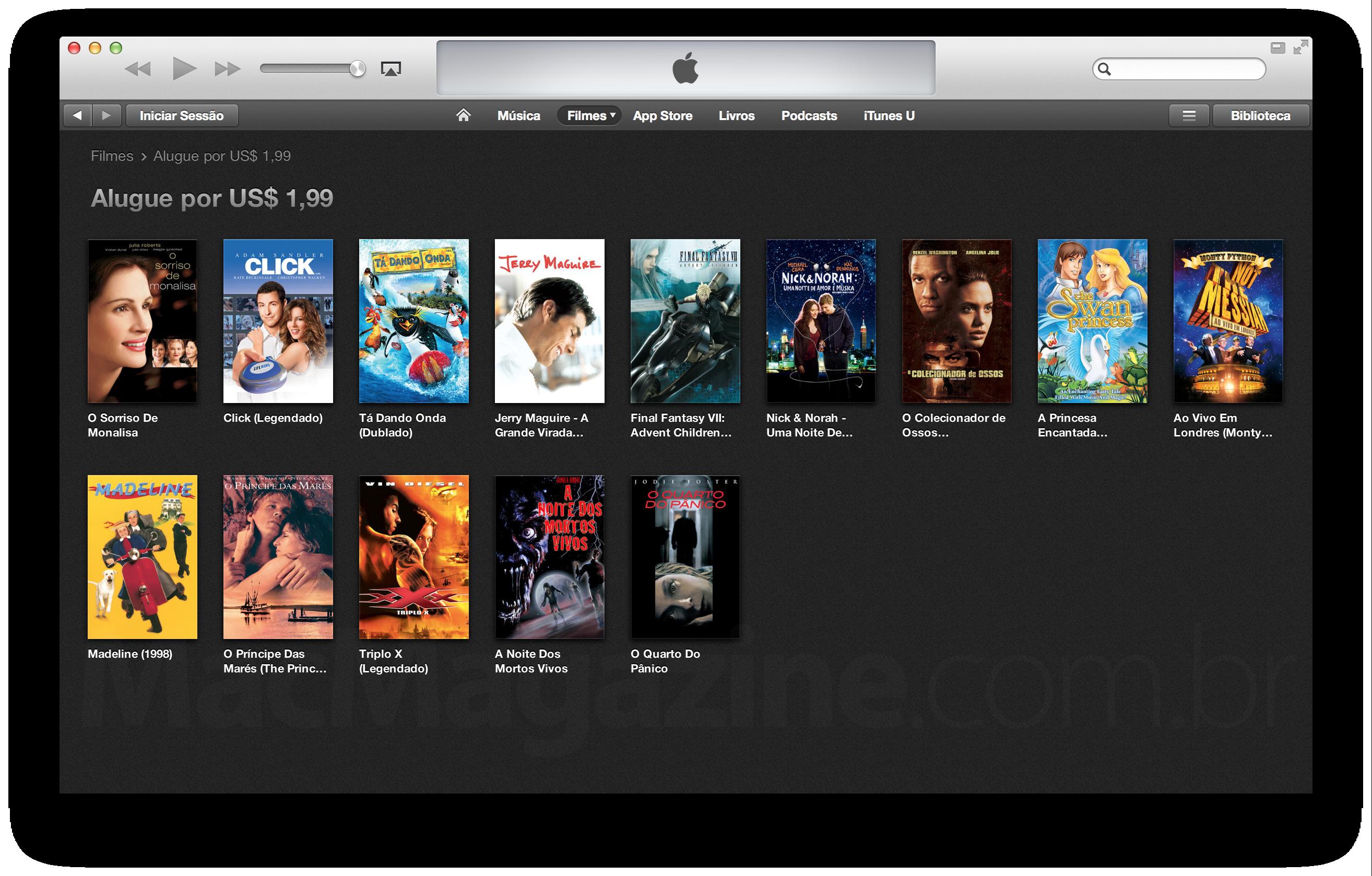 Filmes em promoção na iTunes Movie Store