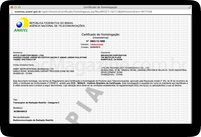 Broadcom BCM94360CD na ANATEL