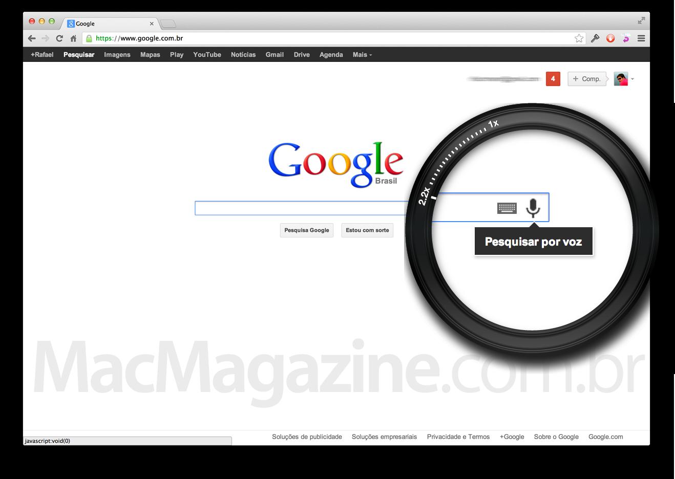 Busca por voz no Google Chrome