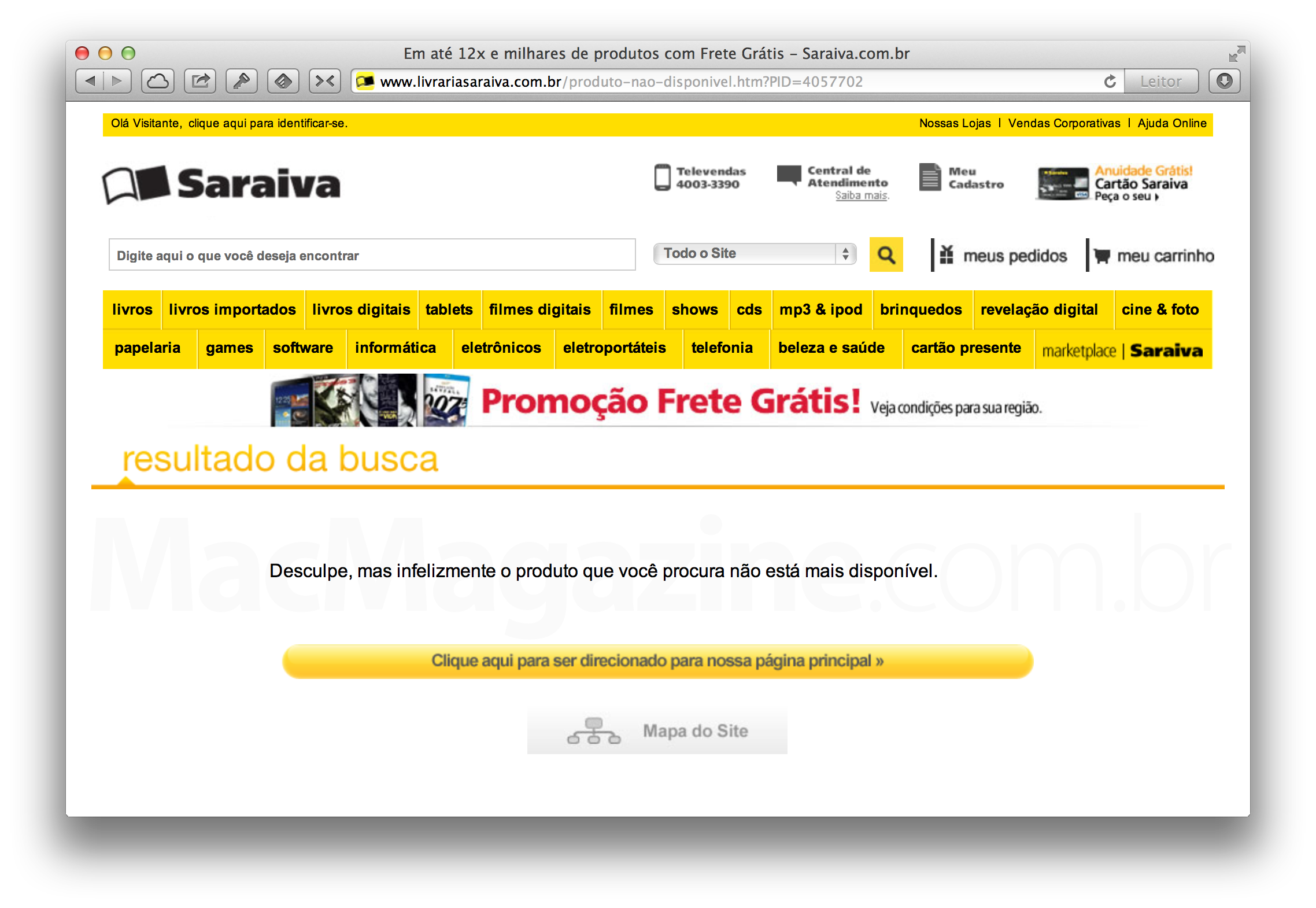 Apple TV esgotado na Saraiva