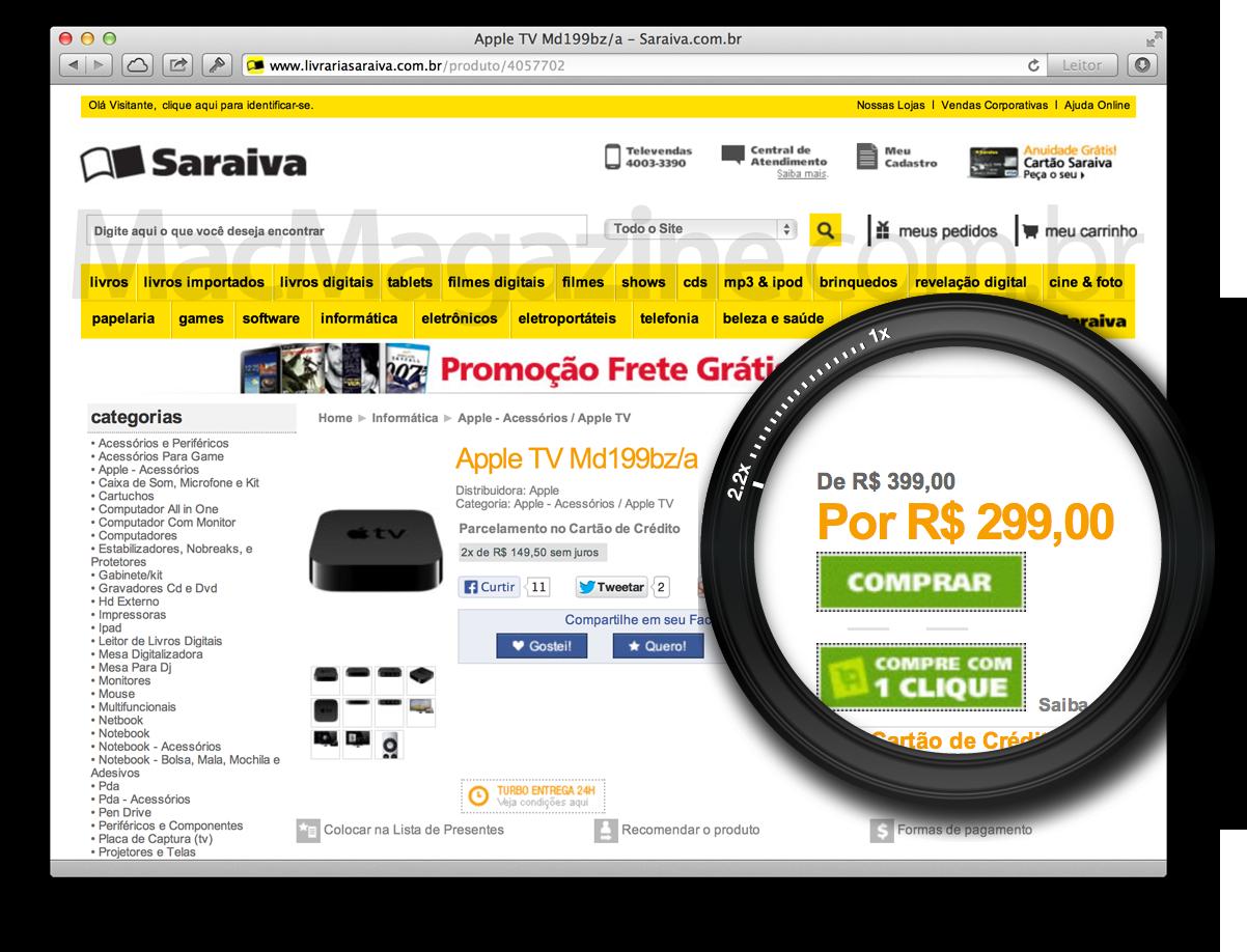 Apple TV com desconto na Saraiva