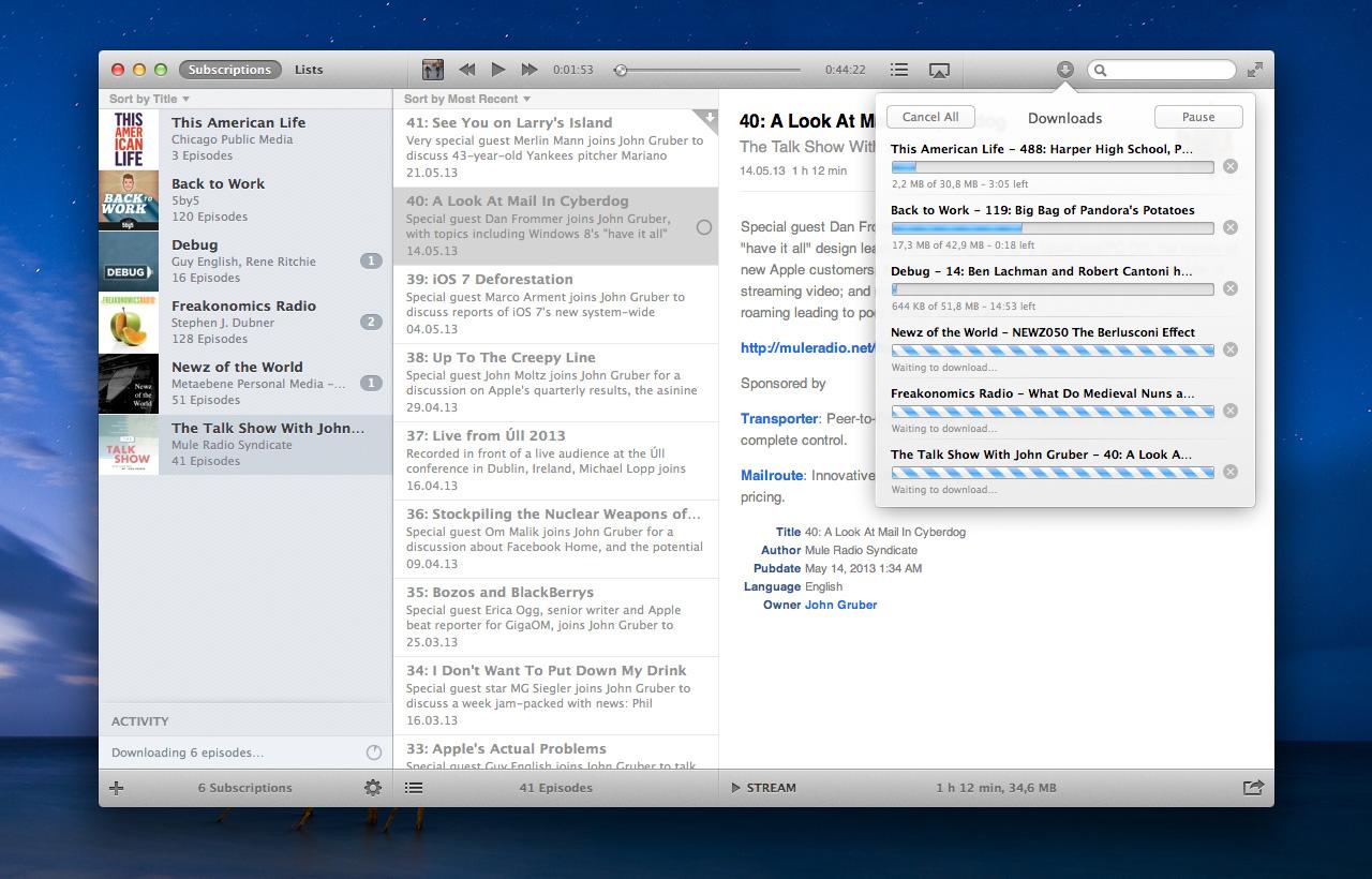 Instacast para Mac