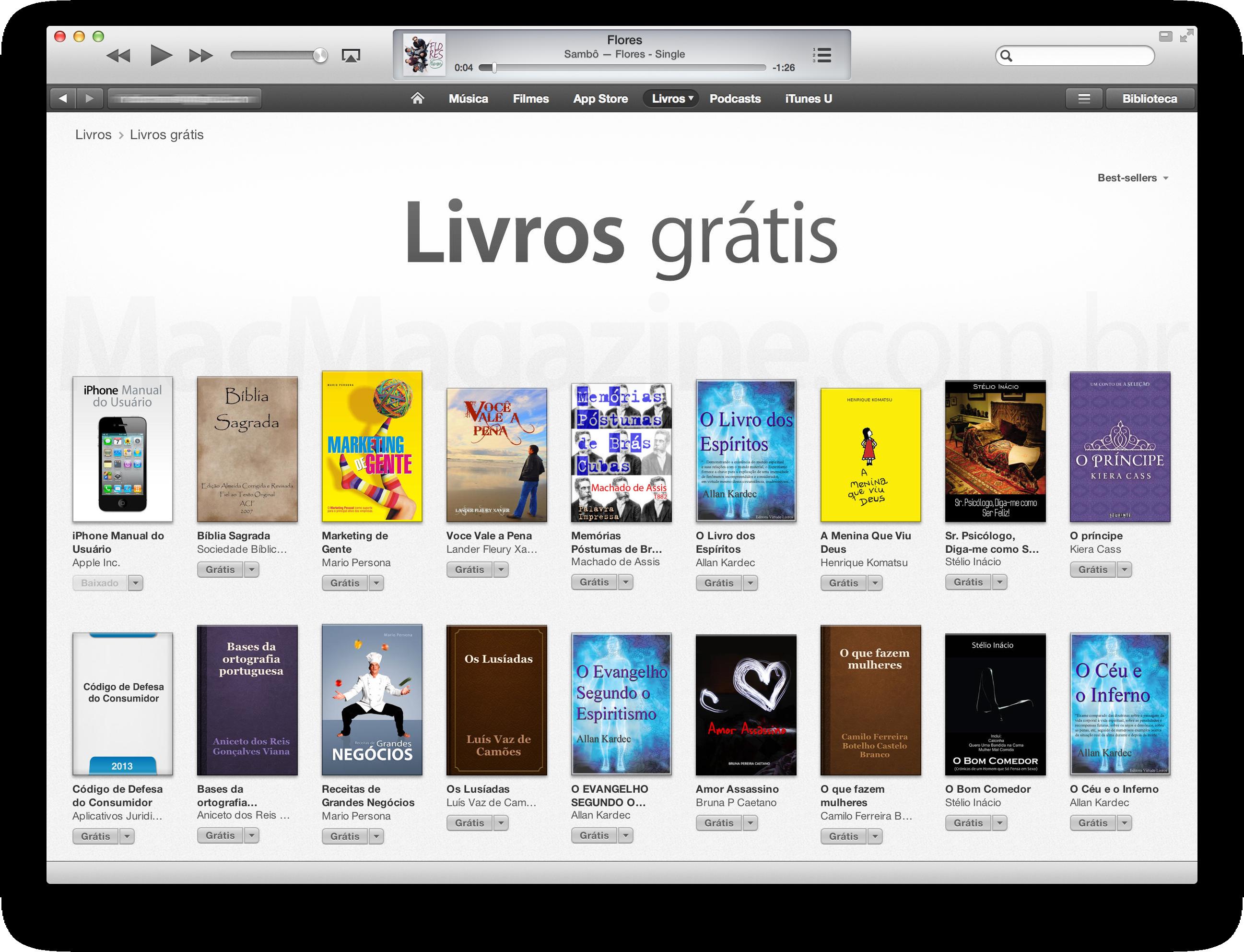 Livros grátis na iTunes Store brasileiro