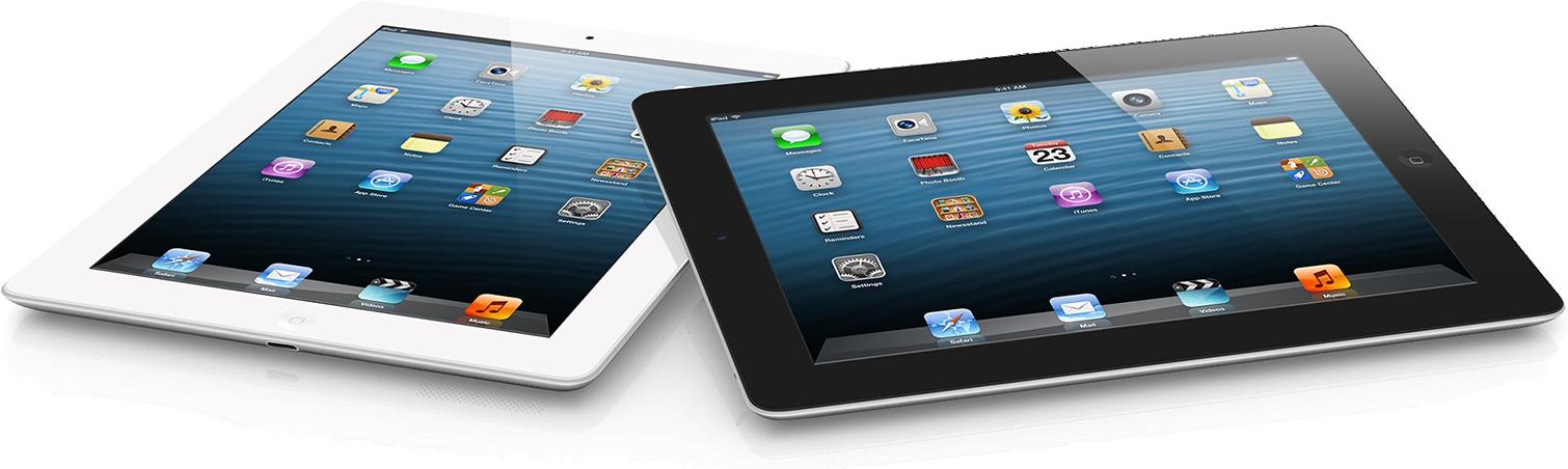 iPads de quarta geração deitados e de frente