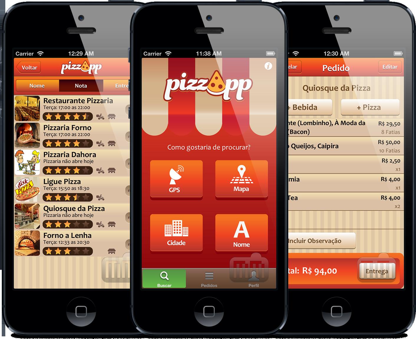 PizzApp em iPhones