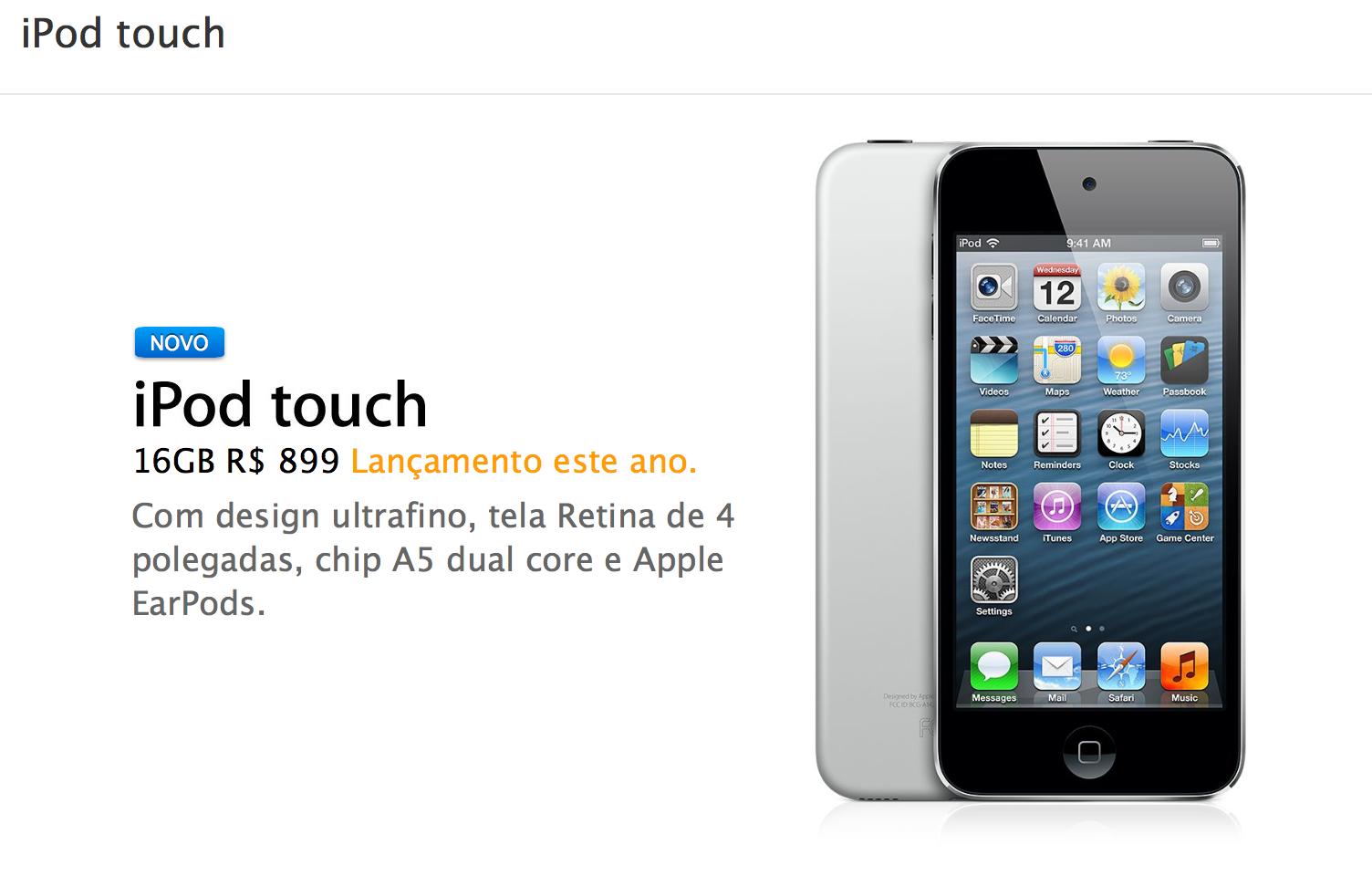 Apple lança novo iPod touch sem iSight, de quinta geracao
