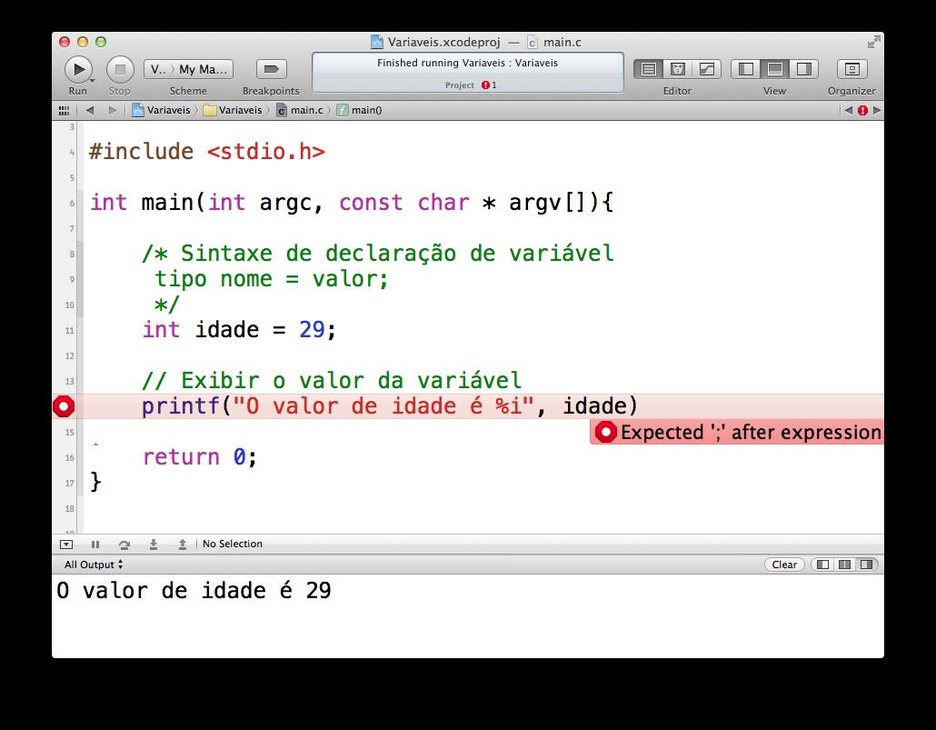 Erro no Xcode