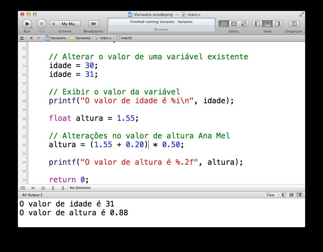 Operações matemáticas no código