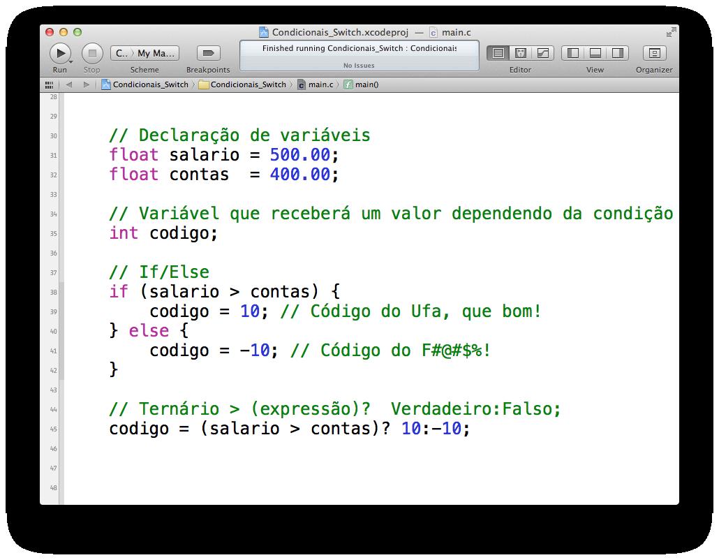 Condicional ternário no Xcode