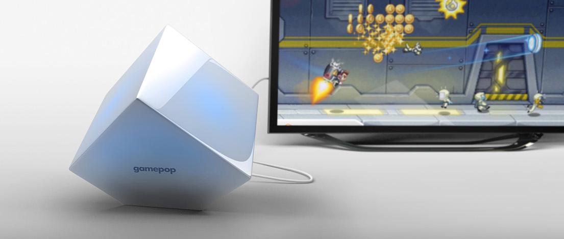 Console GamePop ligado a uma TV