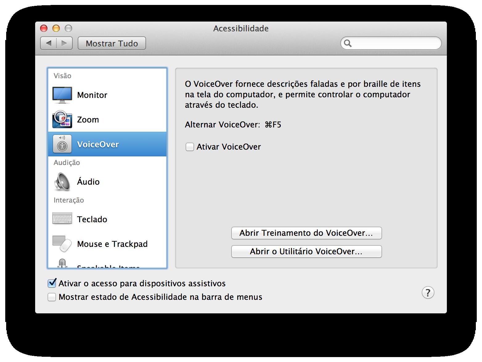 Acessibilidade no OS X