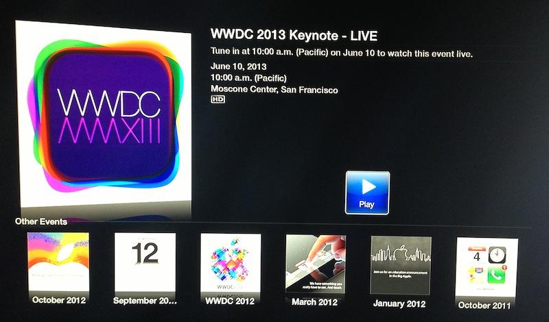 Ícone da WWDC 2013 na Apple TV