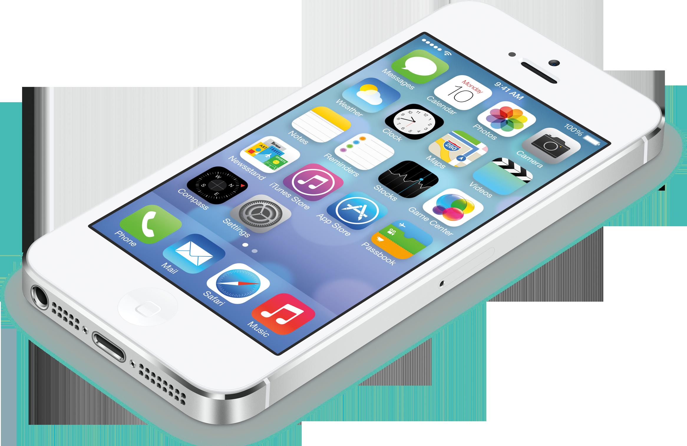 iOS 7 num iPhone 5 branco deitado e de lado