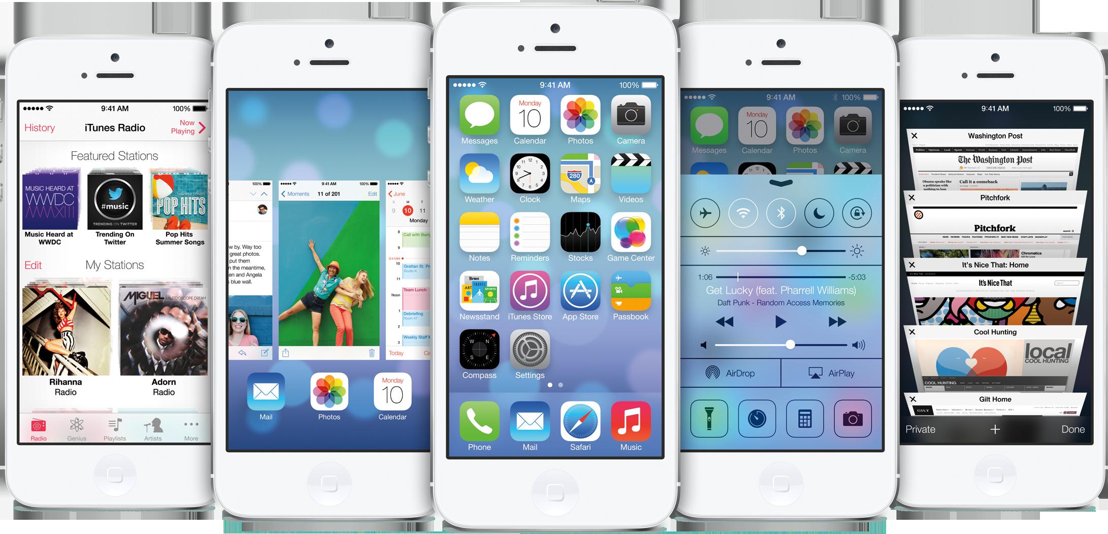 iOS 7 em cinco iPhones 5 brancos de frente