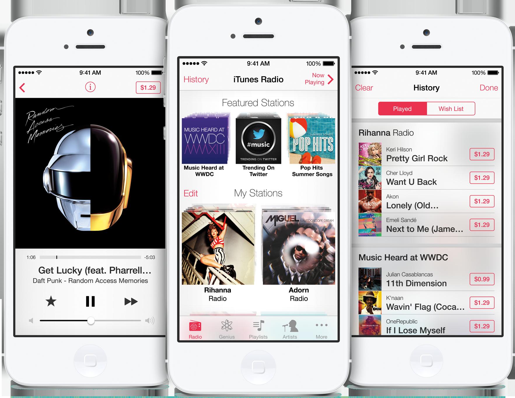 iTunes Radio em iPhones 5 brancos de frente