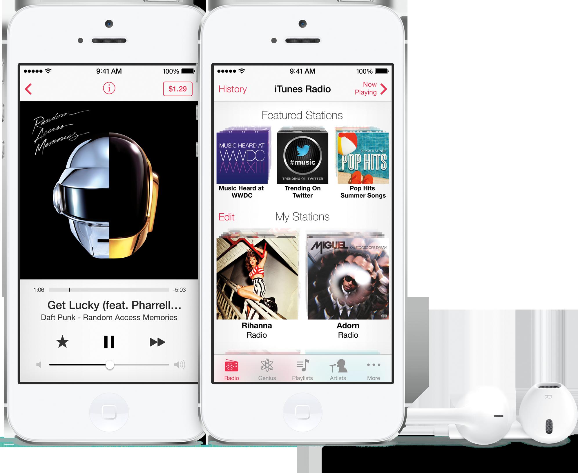 iTunes Radio em iPhones 5 brancos de frente com EarPods