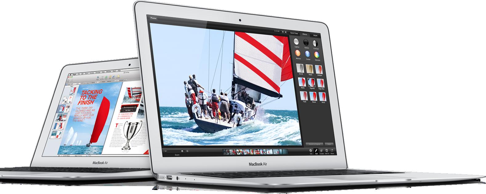 Novos MacBooks Air de frente e de lado