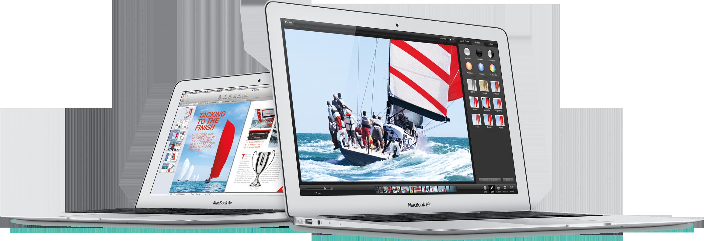 Novos MacBooks Air de 11 e 13 polegadas inclinados de lado