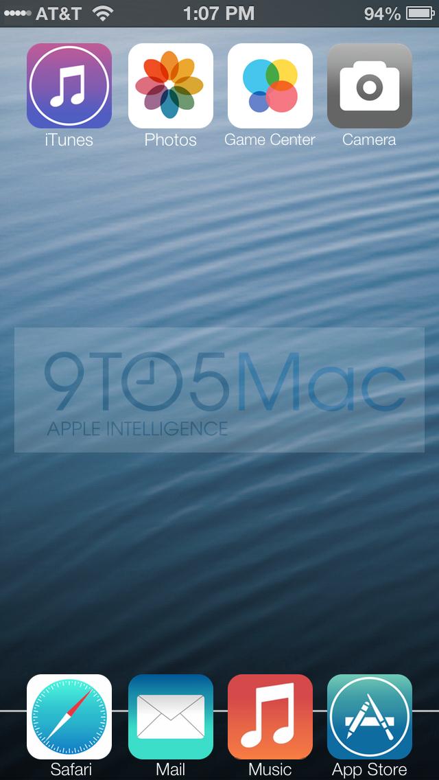 Representação do suposto iOS 7