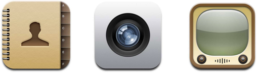 Ícones antigos do iOS 7 com skeumorfismo