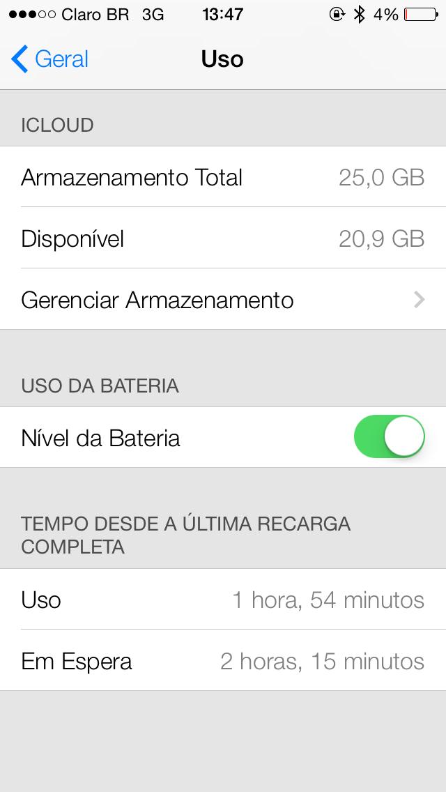Rendimento da bateria no iOS 7