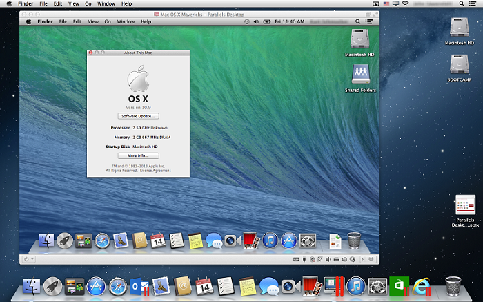 OS X Mavericks rodando no Parallels Desktop 8