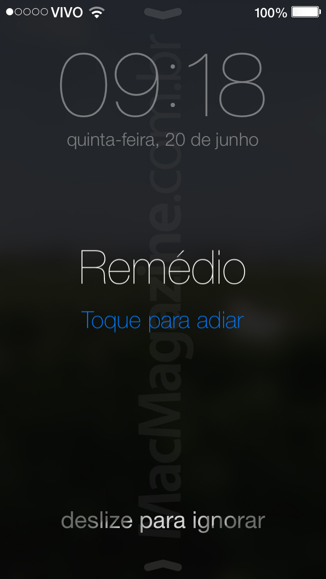 Lembrete com hora no iOS 7
