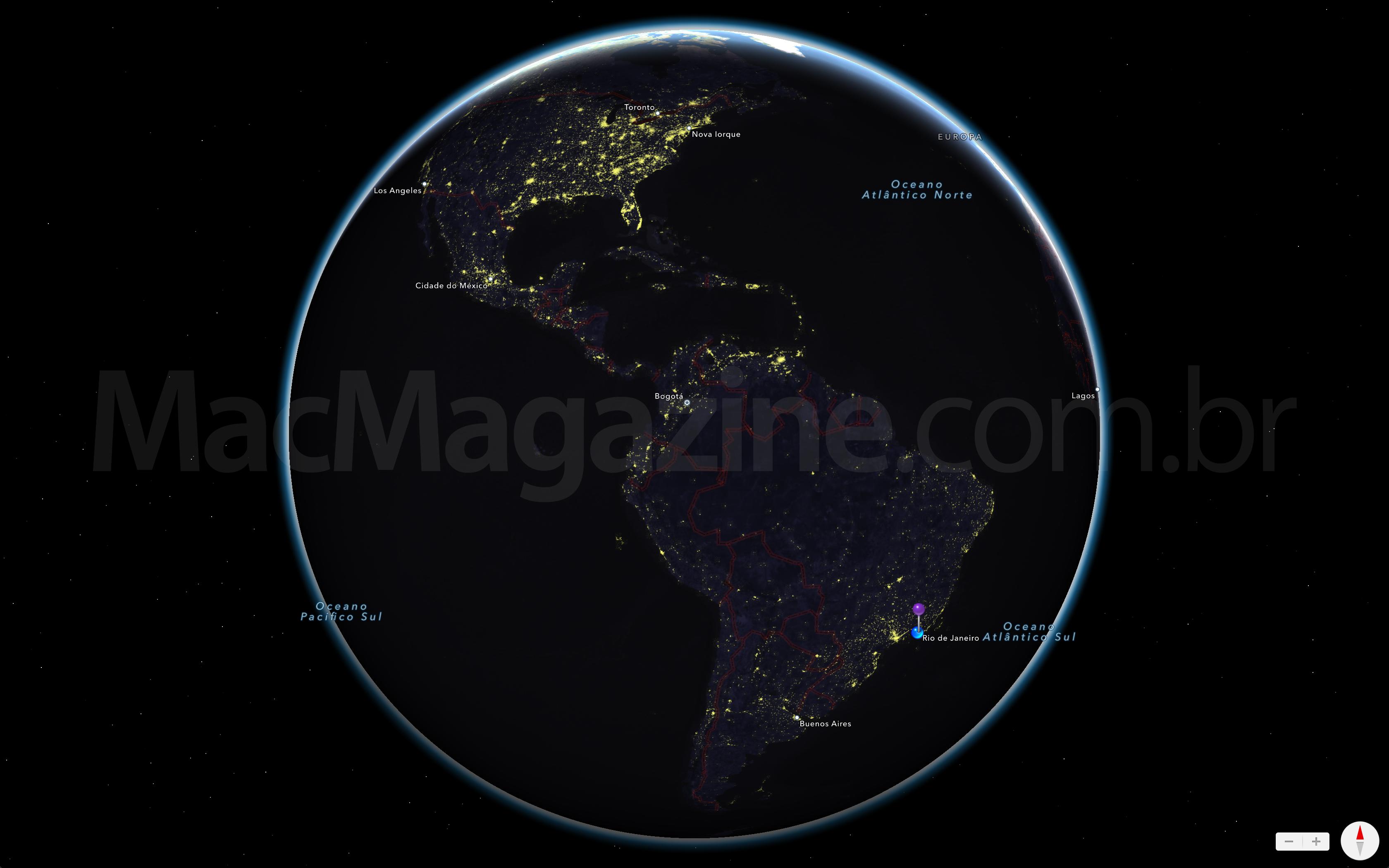 Mapa noturno do OS X Mavericks