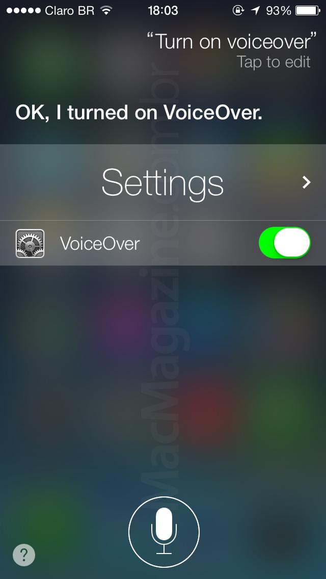 Siri ativando o VoiceOver no iOS 7