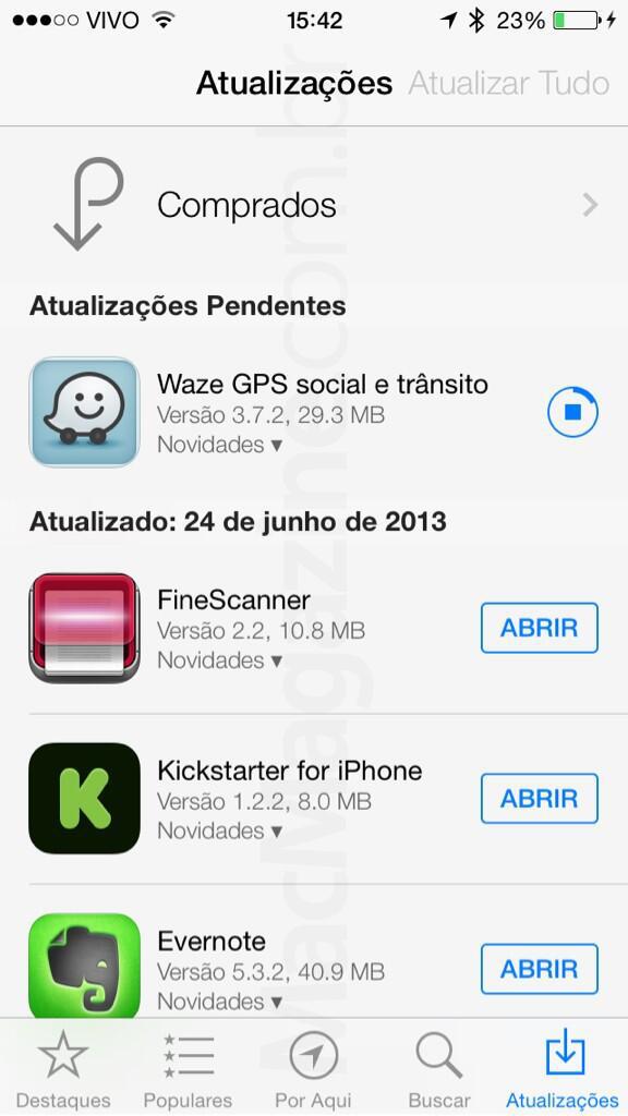 Screenshot do iOS 7 beta