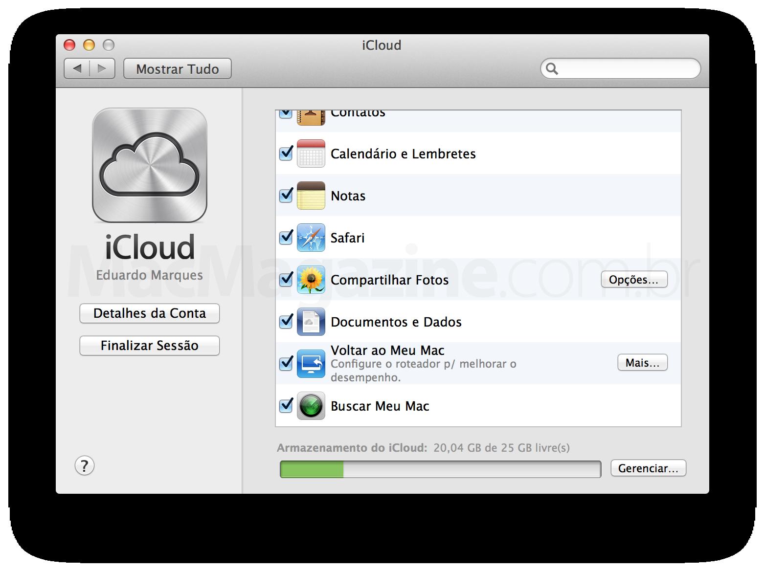 Preferências do iCloud - OS X