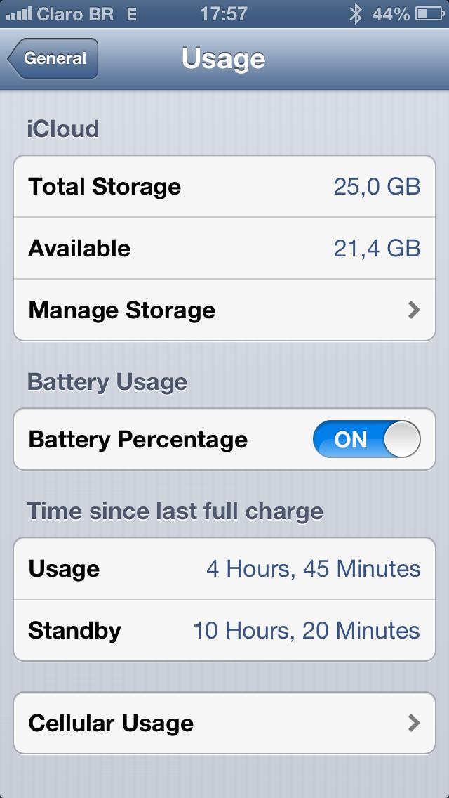 Rendimento da bateria no iOS 6