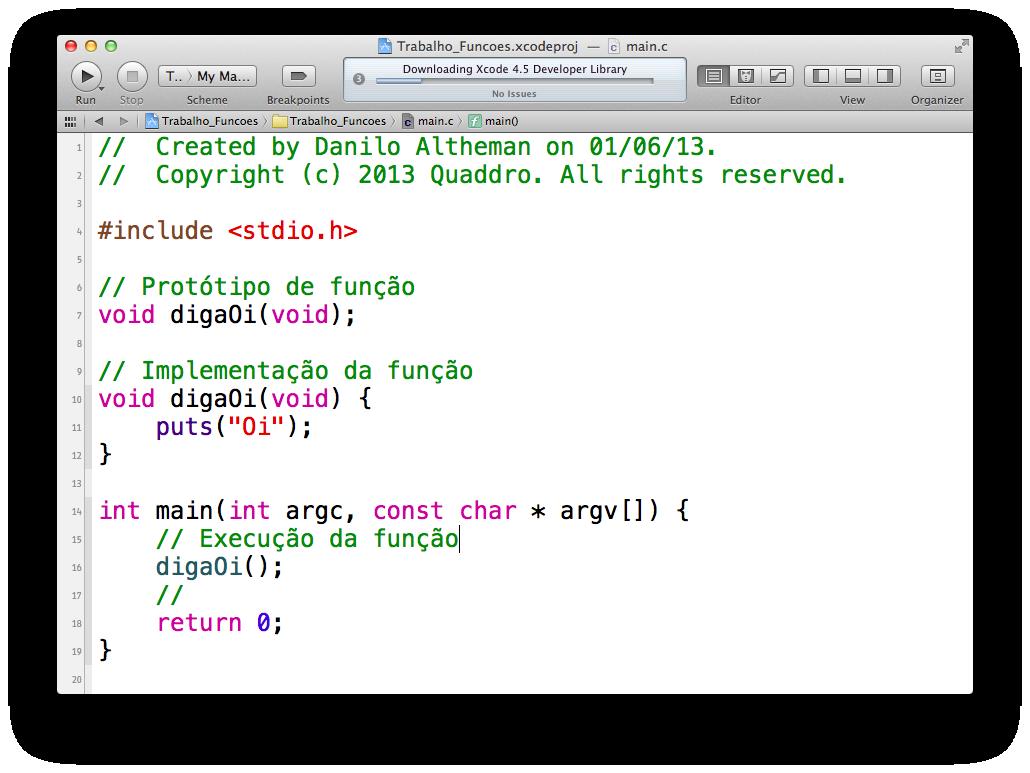 Declarando uma função no Xcode