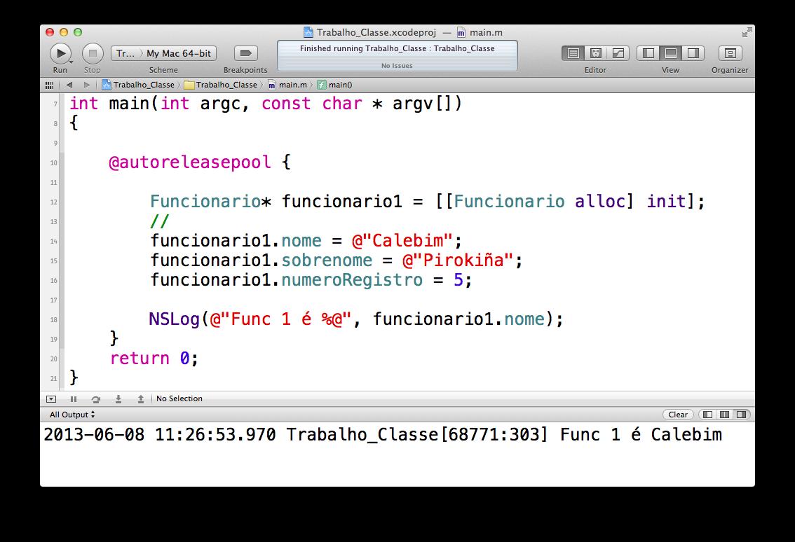 Definindo propriedades no Xcode