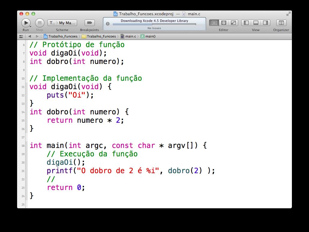 Função dobro no Xcode