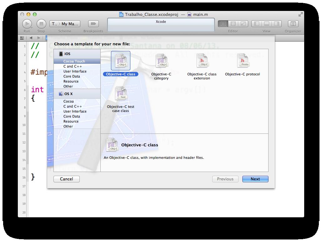 Novo arquivo em Obj-C no Xcode