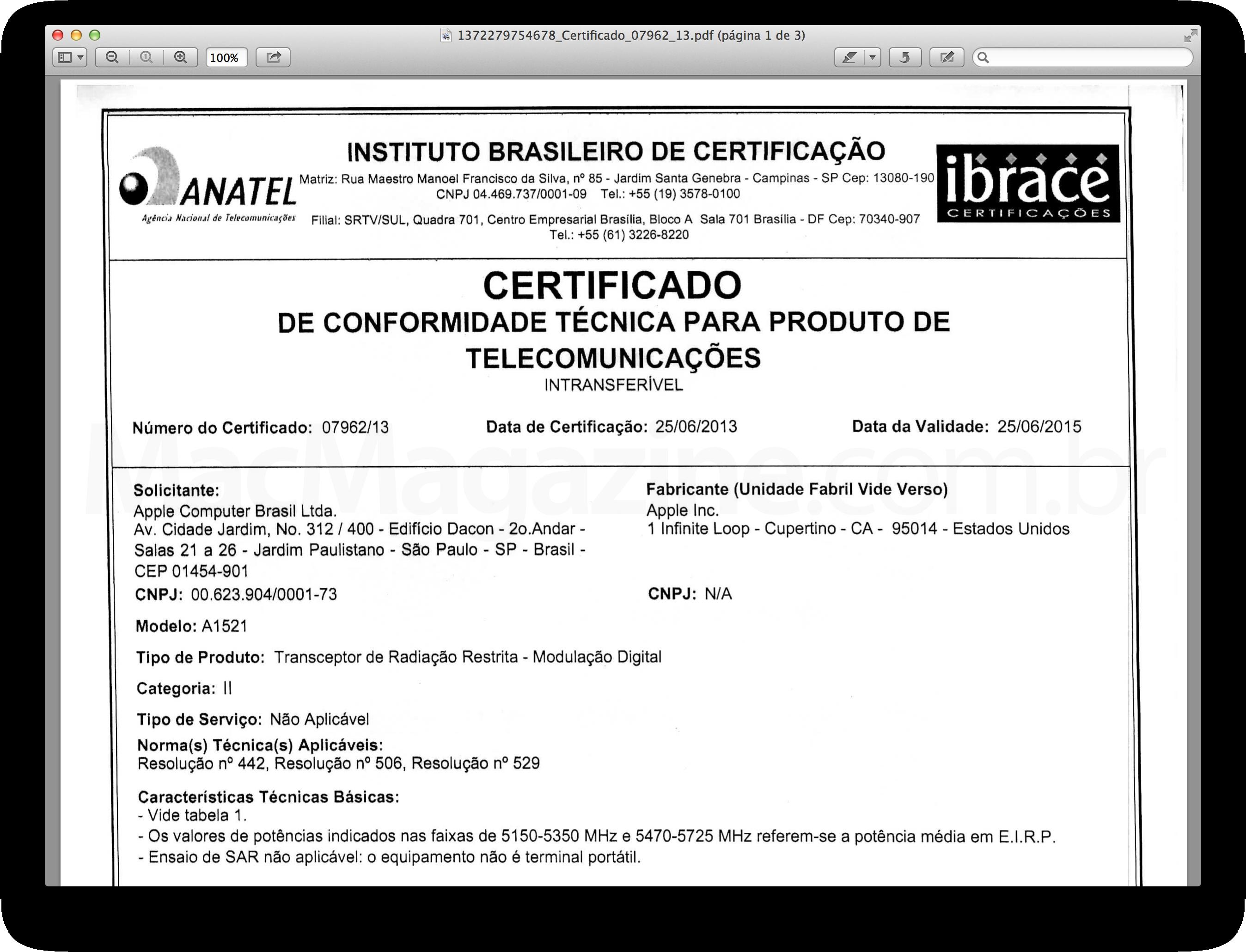 Certificado - AirPort Extreme