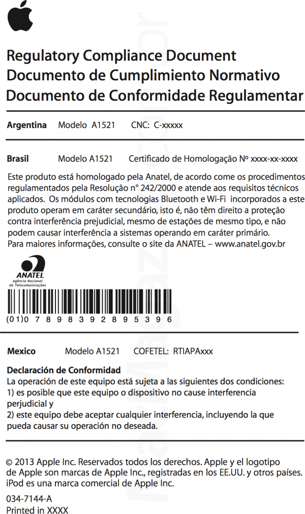 Documento de Conformidade Regulamentar - AirPort Extreme