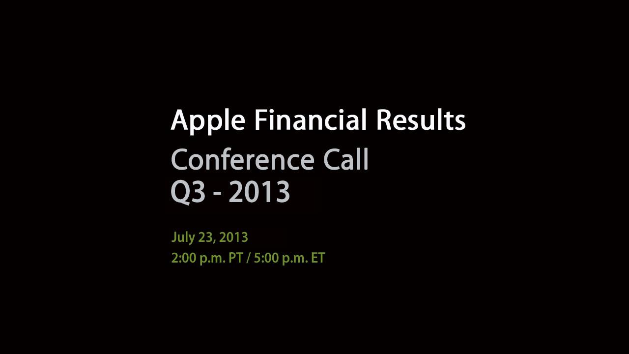 Apple - Resultados financeiros do terceiro trimestre fiscal de 2013