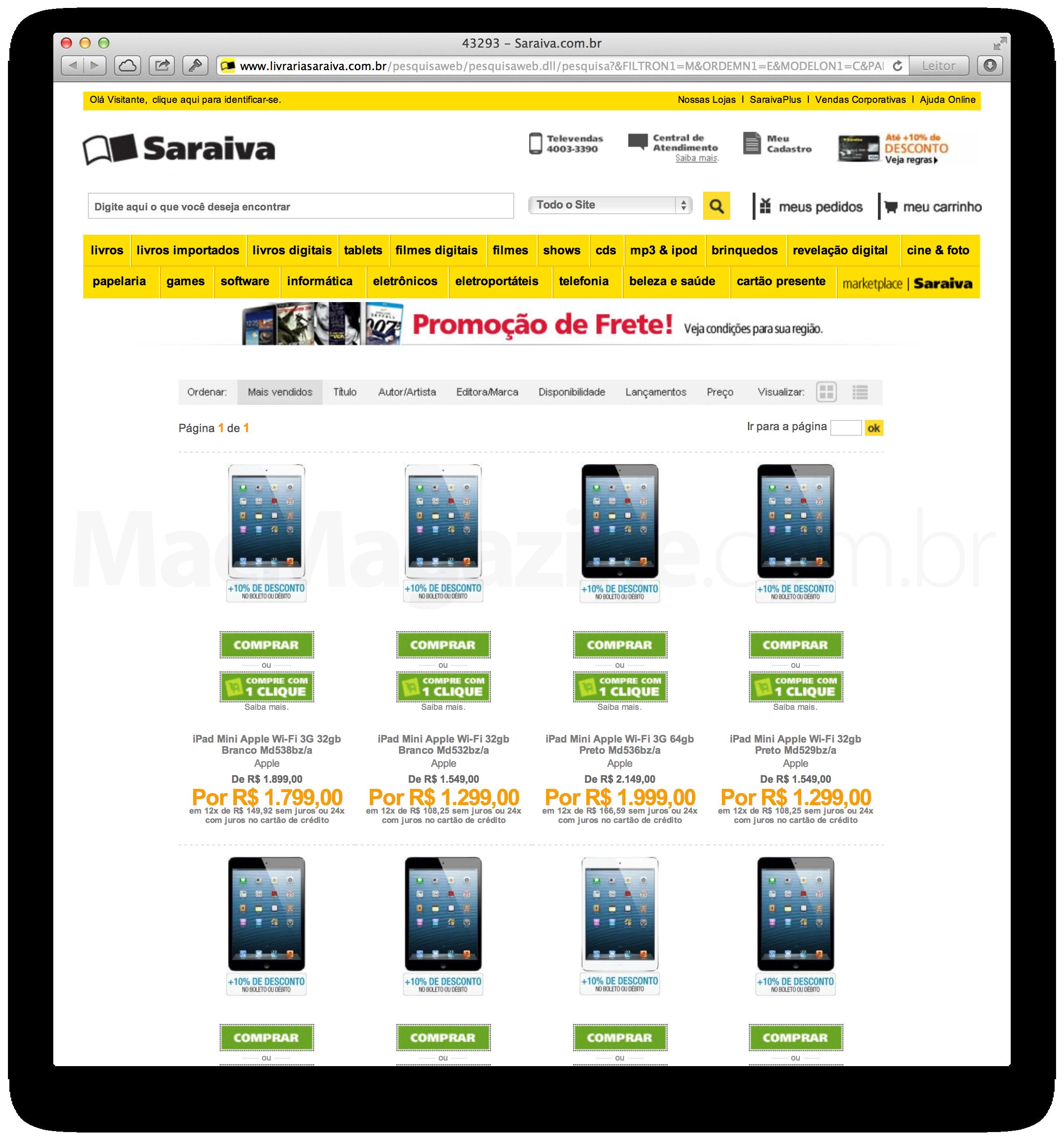 iPads mini em promoção na Saraiva