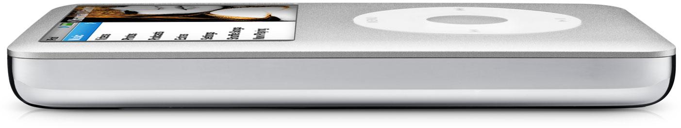 iPod classic prata deitado de lado