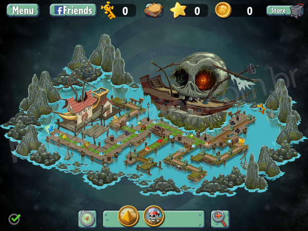 Plants vs. Zombies 2 - mapa Mar dos Piratas