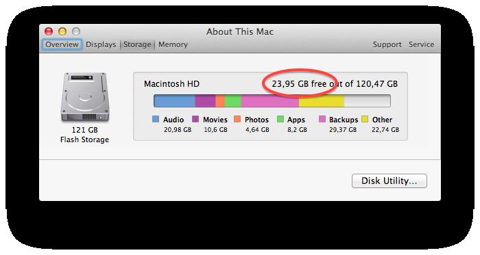 Espaço para armazenamento do MacBook Air