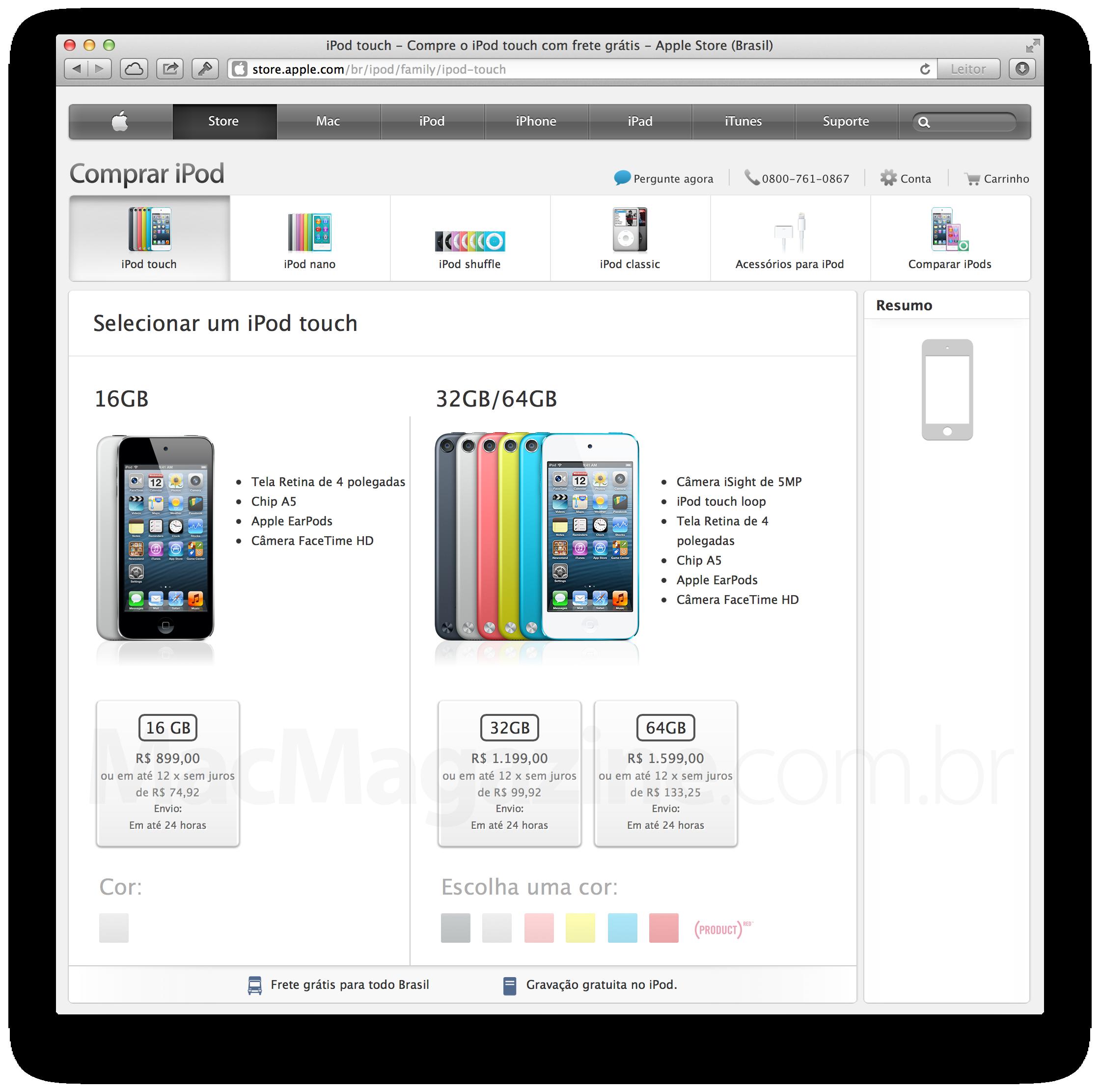"""Novo"" iPod touch de 16GB na Apple Online Store"
