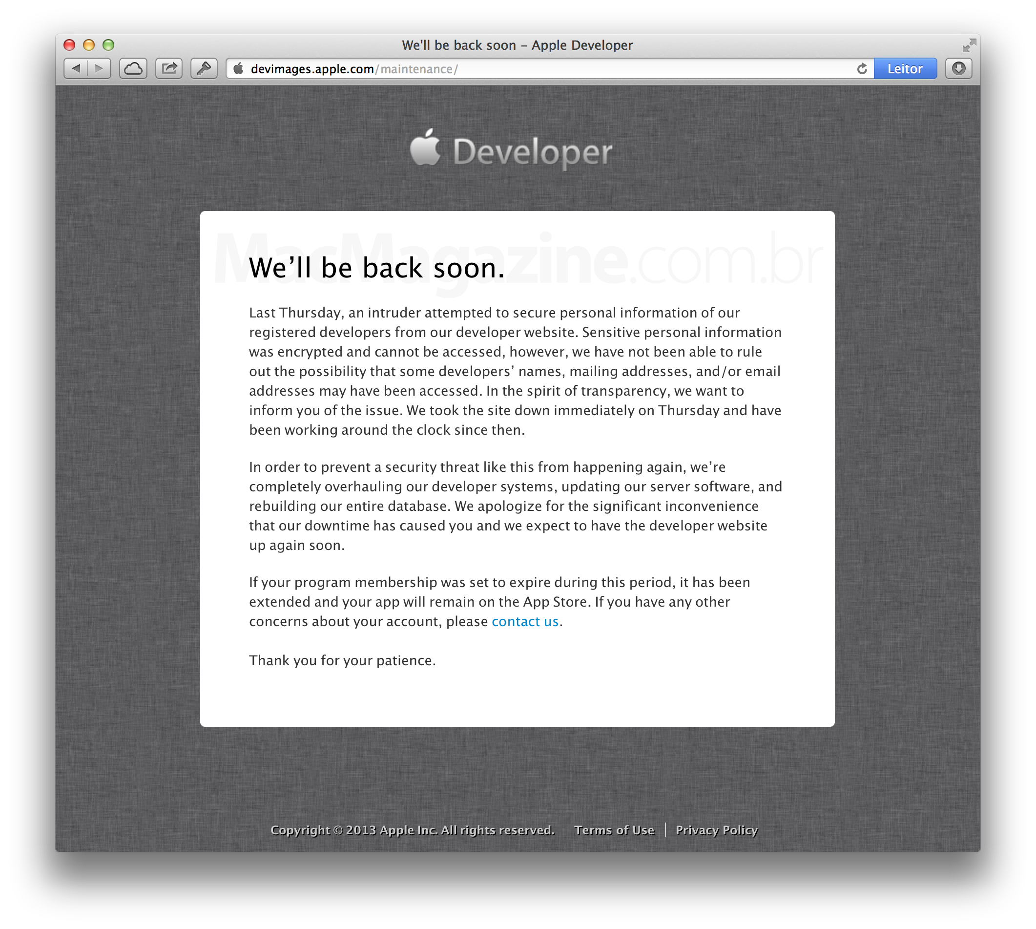 Mensagem da Apple - Dev Center