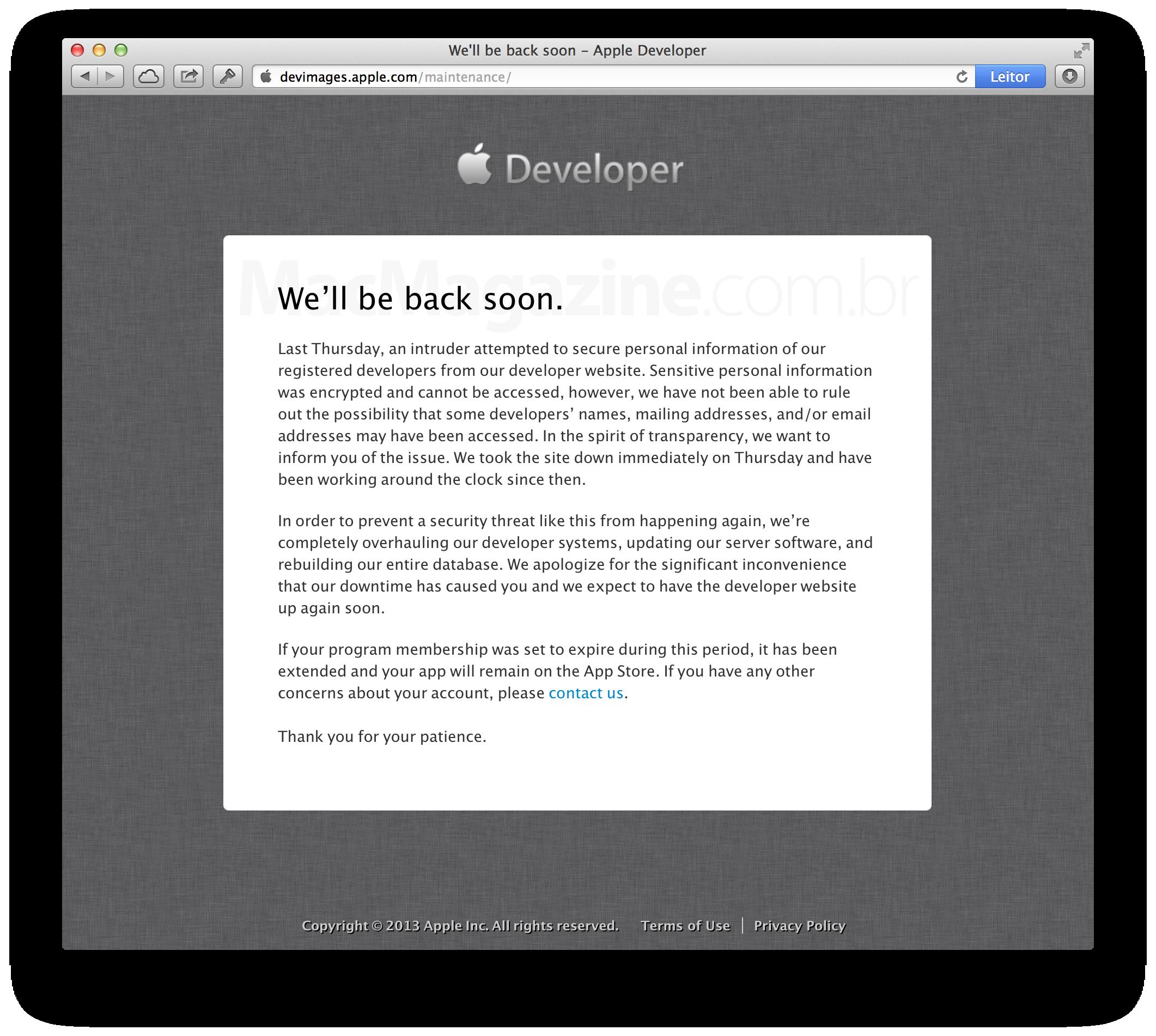 Mensagem da Apple - Dev Center