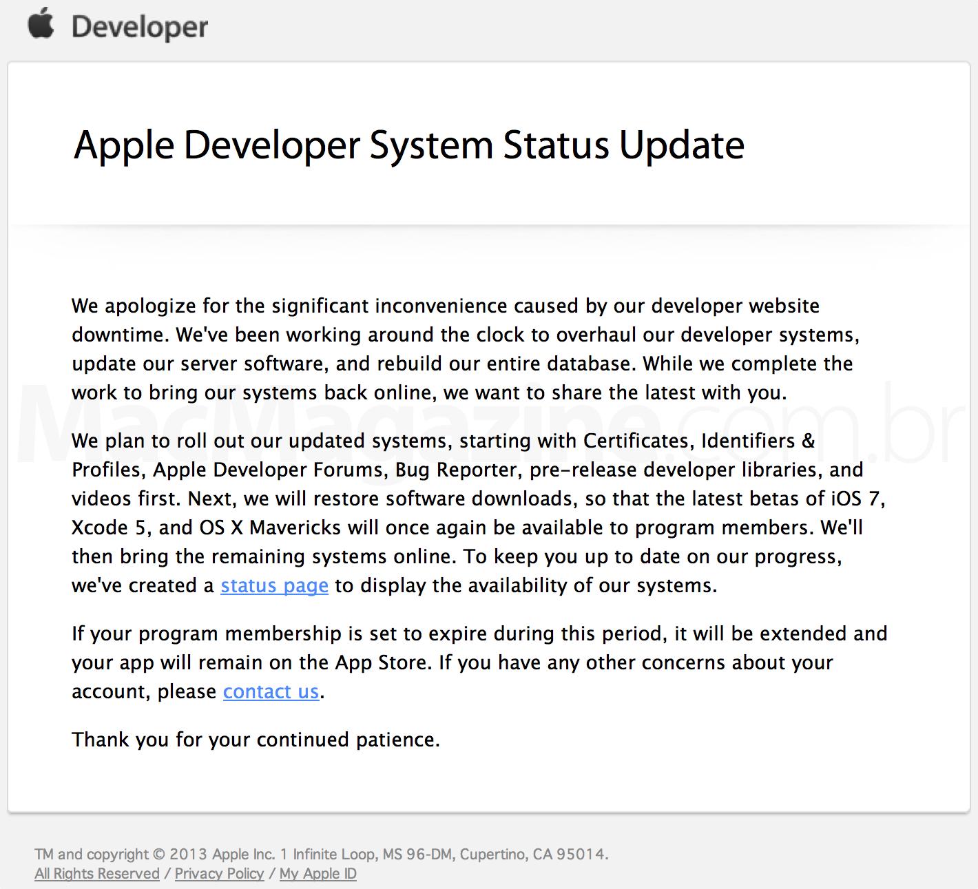 Mensagem da Apple sobre a paralisação do Dev Center