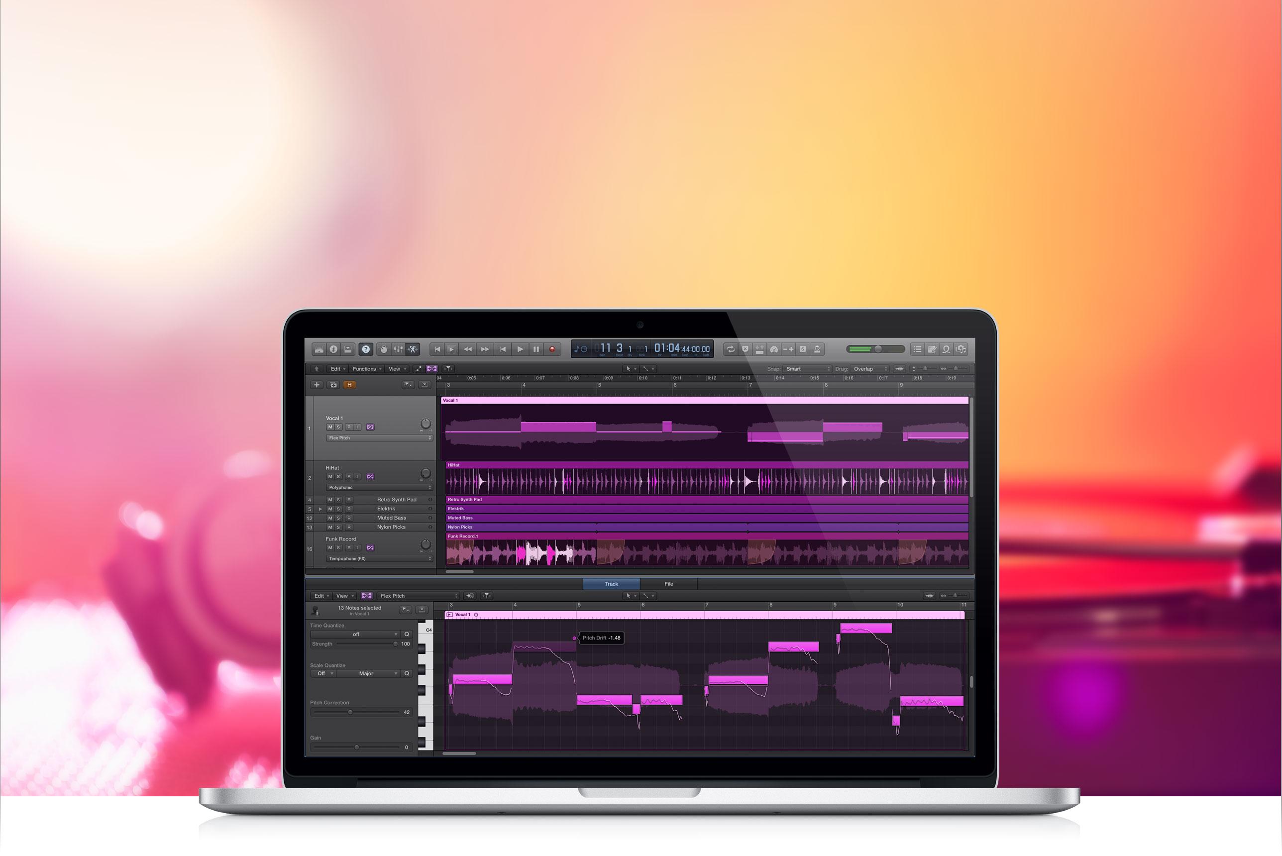 Logic Pro X num MacBook Pro Retina
