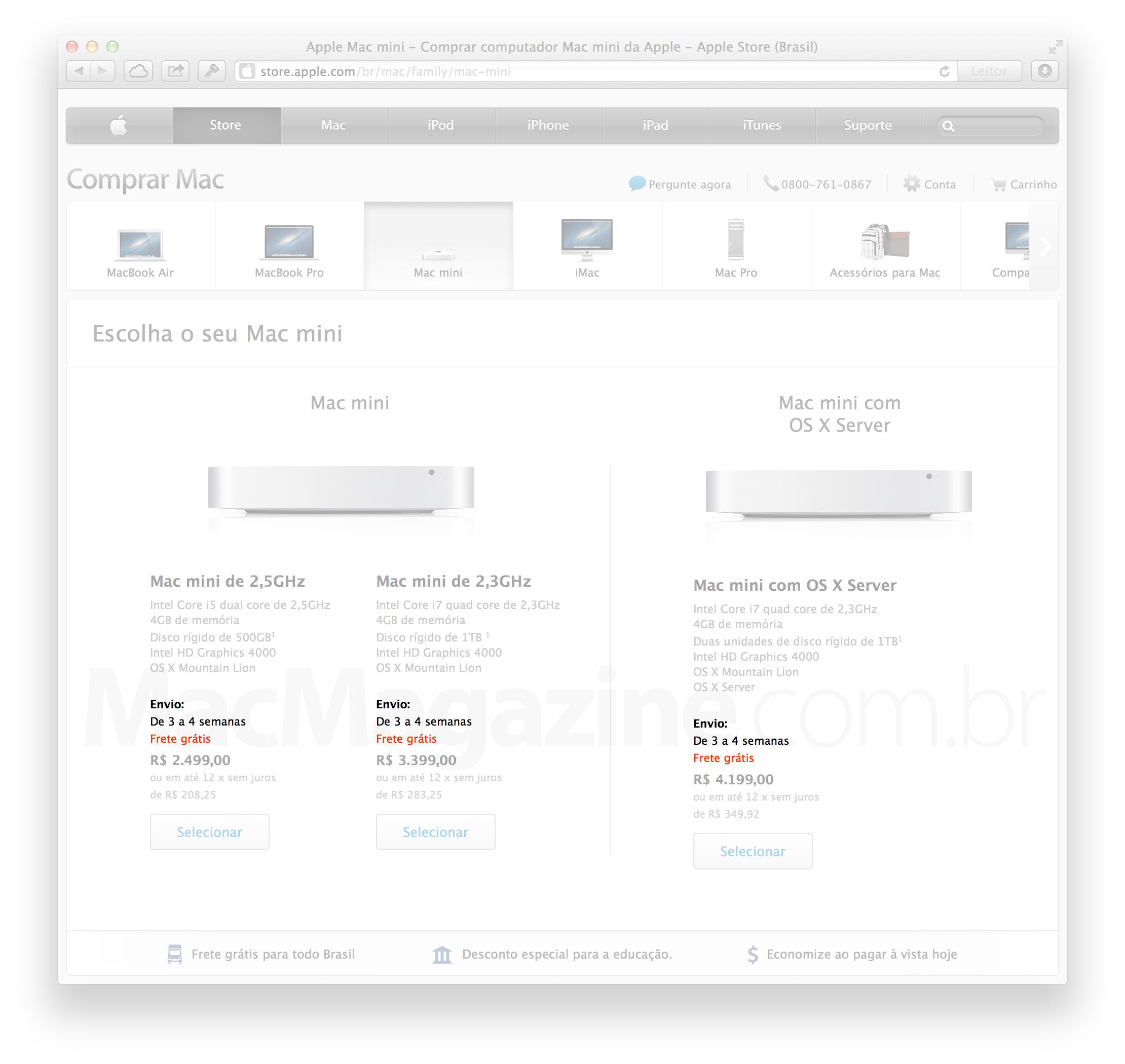 Prazo de entrega de Macs mini